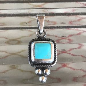 Turquoise and Silver Pendant Mexico 925